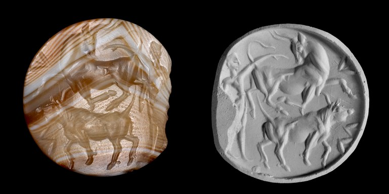 Image of lentoid sealstone made of brownish banded agate with a human figure and two bulls and a modern gray-colored clay impression of the same seal showing the mirror-image