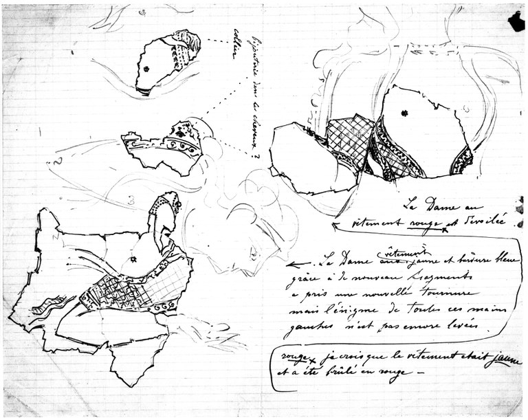 Black ink on paper of scribbled notes and the sketched fragments of a female figure