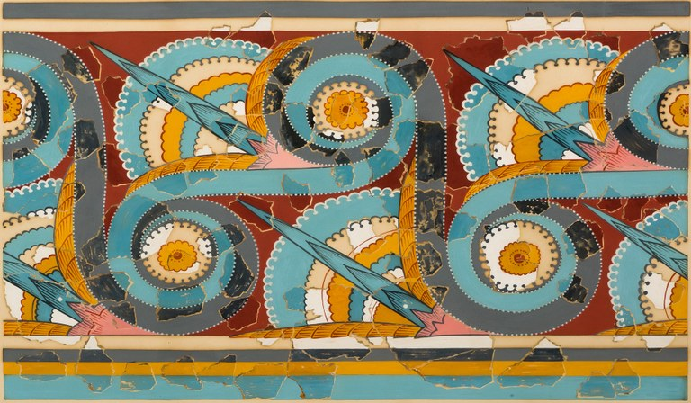 Colorful watercolor painting of a graphic pattern multiple yet orderly circular designs in reds, blues, yellows, pink, turquoise, white, and light black