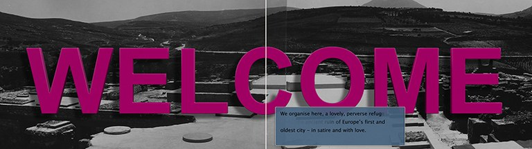 """Black and white photograph of a Greek landscape image of an excavation site with the word """"Welcome"""" superimposed in bright pink"""