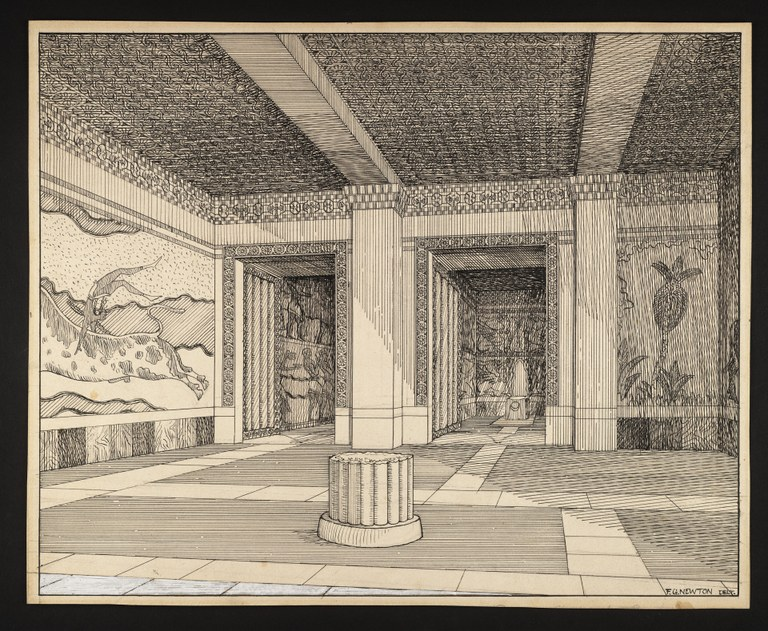 Pen and ink drawing of a view of a building interior. The drawing contains two doorways with an image of a wall painting showing an acrobat leaping over a bull on the left and a quarter of a pillar at center