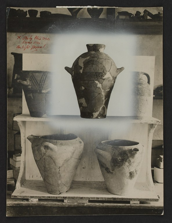 Staged and Retouched Photograph of Minoan Pottery from the Vat Room