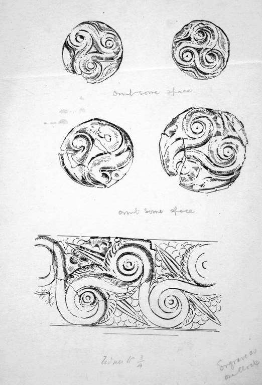 Ink and pencil sketch drawings of four circular and one rectangular designs of spirals from gold embossed roundels and plates