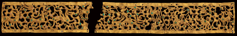 Gold, Turquoise, Carnelian, Coral. L. (total) 36.3; H. 5 cmKargaly (Myng-Oshakty tract, Almaty region), 2nd century BCE–1st century CECentral State Museum, Almaty: KP 3990Photography © The Central State Museum of the Republic of Kazakhstan, Almaty