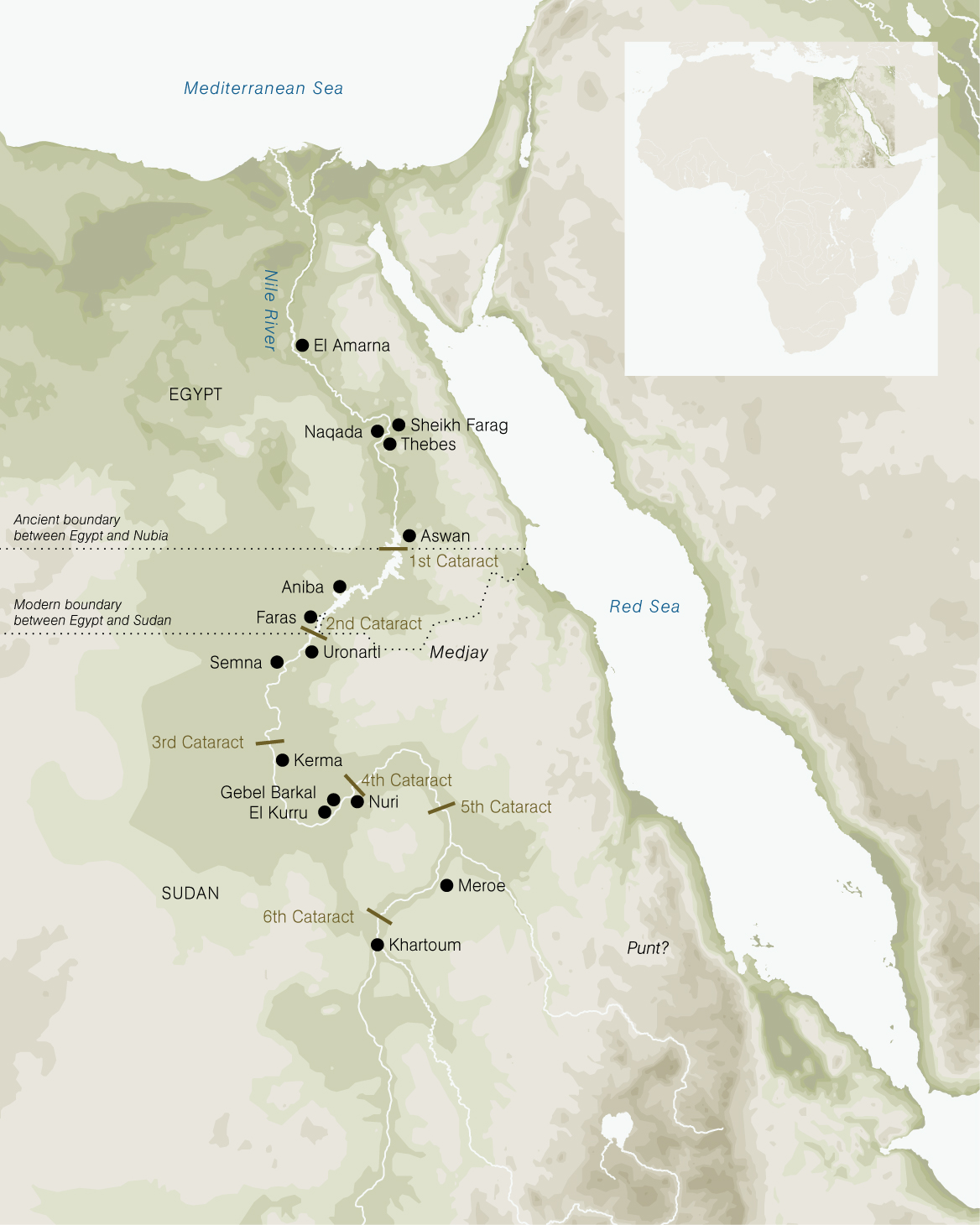 Nubia ancient kingdoms of africa map of sudan and egypt with excavation sites sciox Images
