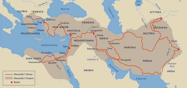 Map showing Alexander's route, empire and battle spots