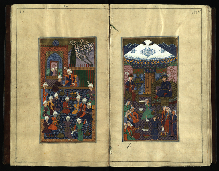 Colorful pages of ink, opaque watercolor and gold on paper of scenes showing a group of people. Both pages show a man with authority along with other people below him. The first image is set in the outdoors and the second image is set indoors.