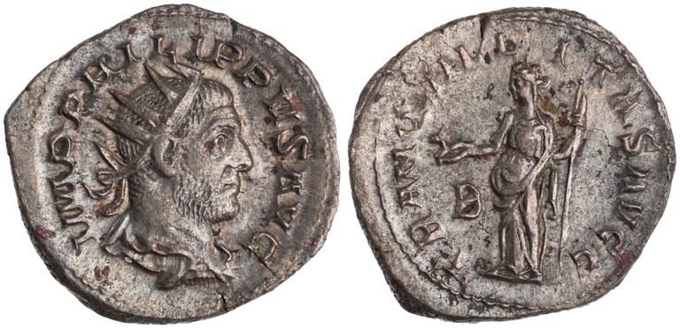 Antoninianus Issued by Philip the Arab: (reverse) Tranquillitas Holding Capricorn