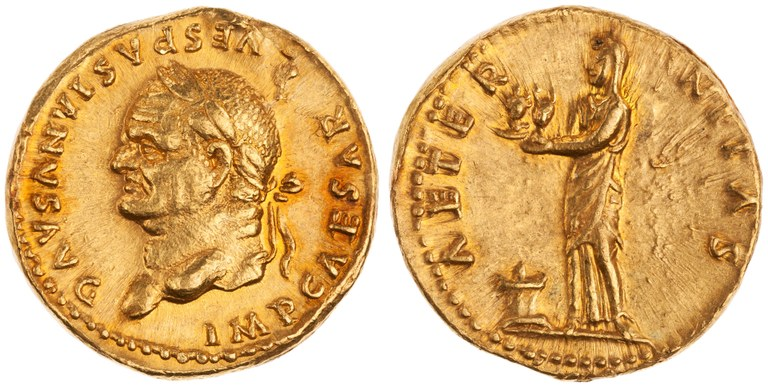 Aureus Issued by Vespasian: (reverse) Aeternitas Holding Busts of Sol and Luna