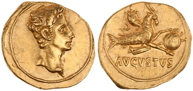 Aureus Issued by Augustus: (reverse) Capricorn Holding a Globe