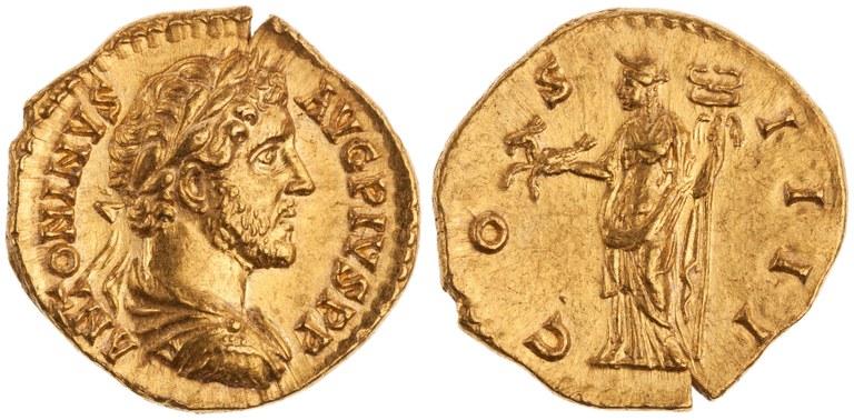 Aureus Issued by Antoninus Pius: (reverse) Felicitas Holding Capricorn