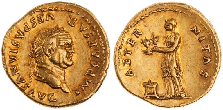 Aureus Issued by Vespasian: (obverse) Head of Vespasian