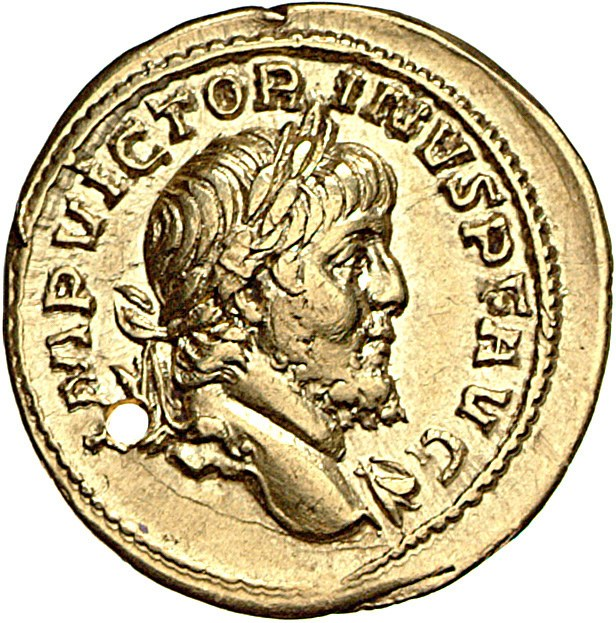 Aureus Issued by Victorinus: (obverse) Head of Victorinus