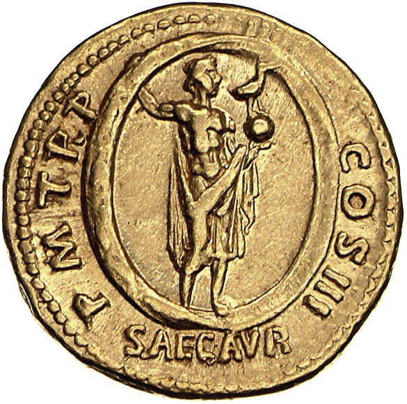 Aureus Issued by Hadrian: (reverse) Aion Standing in Zodiac, Holding Phoenix and Globe