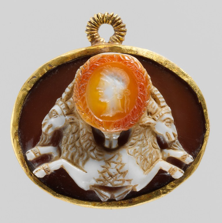 Cameo Representing Double Capricorn with Portrait of Emperor Augustus