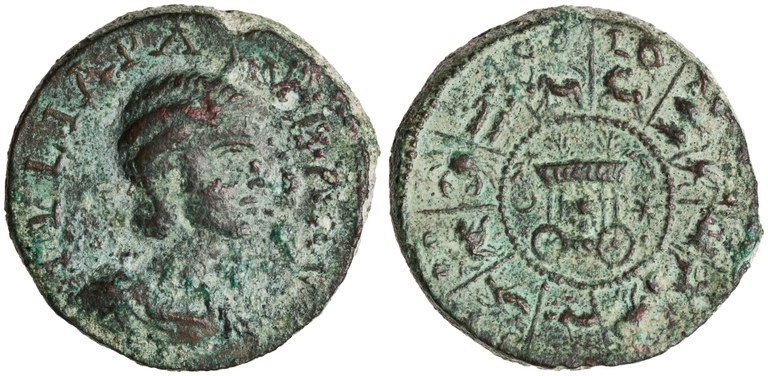Coin Issued by Julia Paula: (reverse) Wagon of Astarte Surrounded by Zodiac