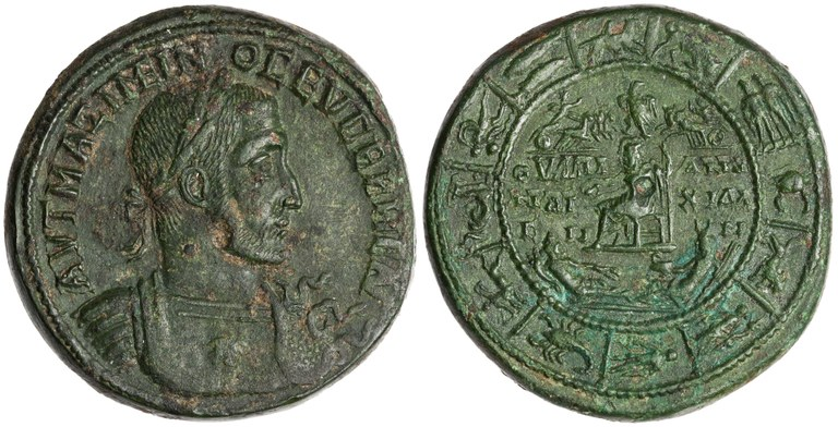 Coin Issued by Maximinus I: (reverse) Zeus with Personifications of Earth, Sea, Helios, and Selene, Surrounded by Zodiac