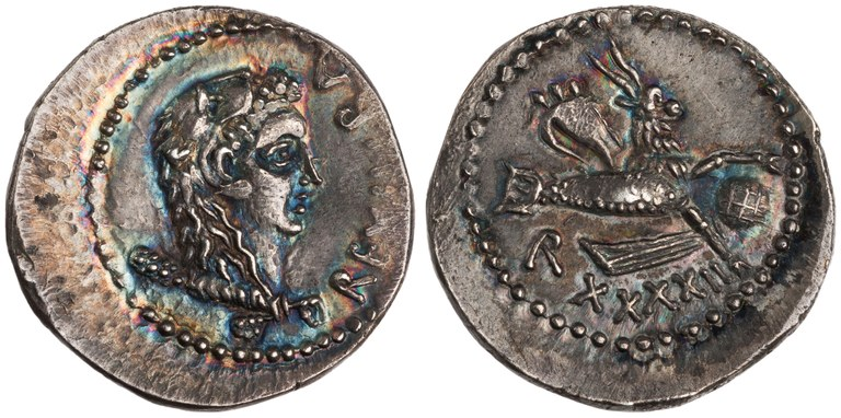 Denarius Issued by Juba II: (reverse) Capricorn