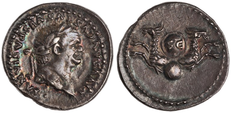 Denarius Issued by Titus: (reverse) Double Capricorns Supporting Shield above a Globe