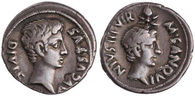 Denarius Issued by Augustus: (obverse) Head of Augustus