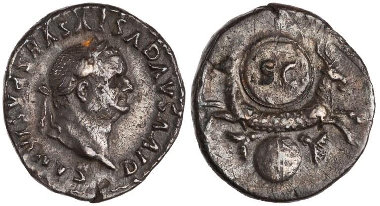 Denarius Issued by Titus: (obverse) Head of Divus Vespasian