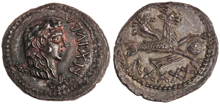 Denarius Issued by Juba II: (obverse) Head Wearing Lion's Scalp