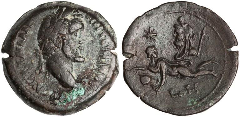 Drachma Issued by Antoninus Pius: (reverse) Aquarius and Saturn