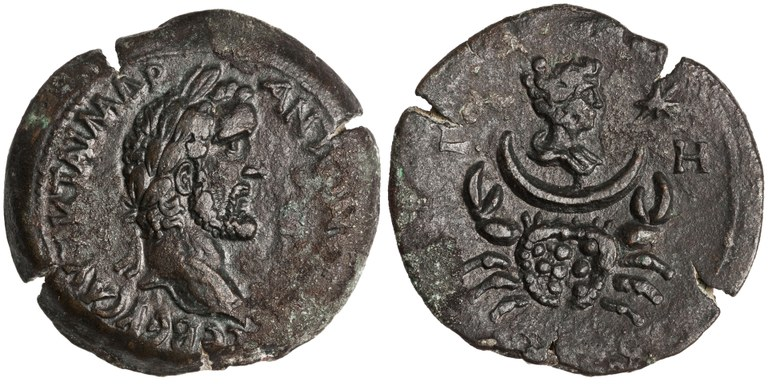 Drachma Issued by Antoninus Pius: (reverse) Cancer and Moon