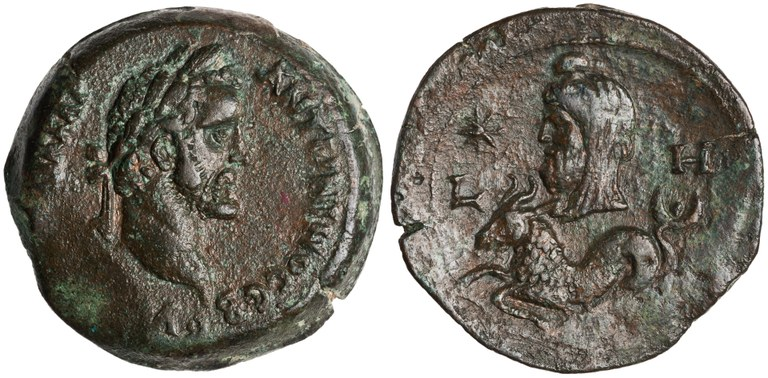 Drachma Issued by Antoninus Pius: (reverse) Capricorn and Saturn