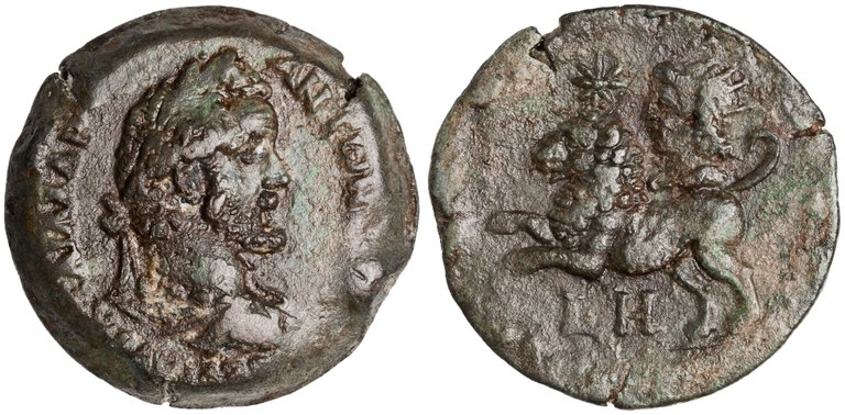 Drachma Issued by Antoninus Pius: (reverse) Leo and Sun