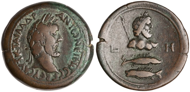 Drachma Issued by Antoninus Pius: (reverse) Pisces and Jupiter