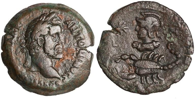Drachma Issued by Antoninus Pius: (reverse) Scorpio and Mars