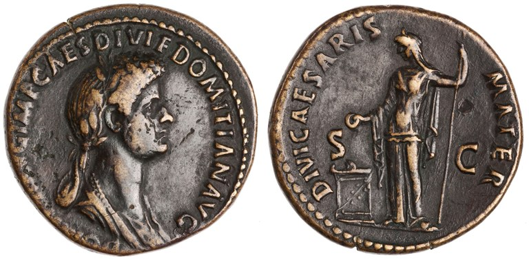 Dupondius Issued by Domitian: (obverse) Head of Domitia