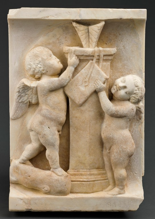 Frieze from a Roman Sarcophagus Representing Putti with Sundial