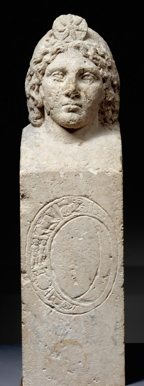 Herm with Head of Helios and Partial Zodiacal Inscription