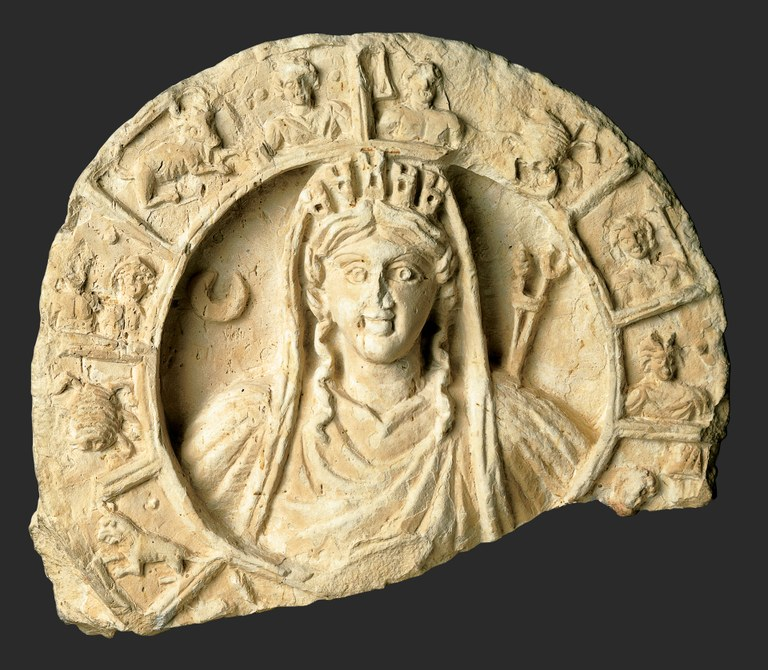 Roundel with Bust of Atargatis-Tyche and Zodiac