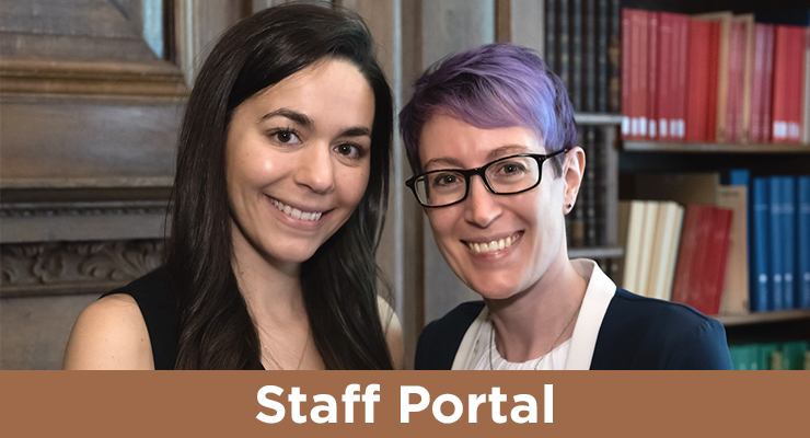 "text overlay reads ""staff portal"", background image shows two women in the ISAW library"