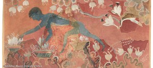 Watercolor restoration of a wall fresco depicting a male figure with elongated limbs and blue skin working among stylized white and yellow saffron blossoms on a rose-colored background.