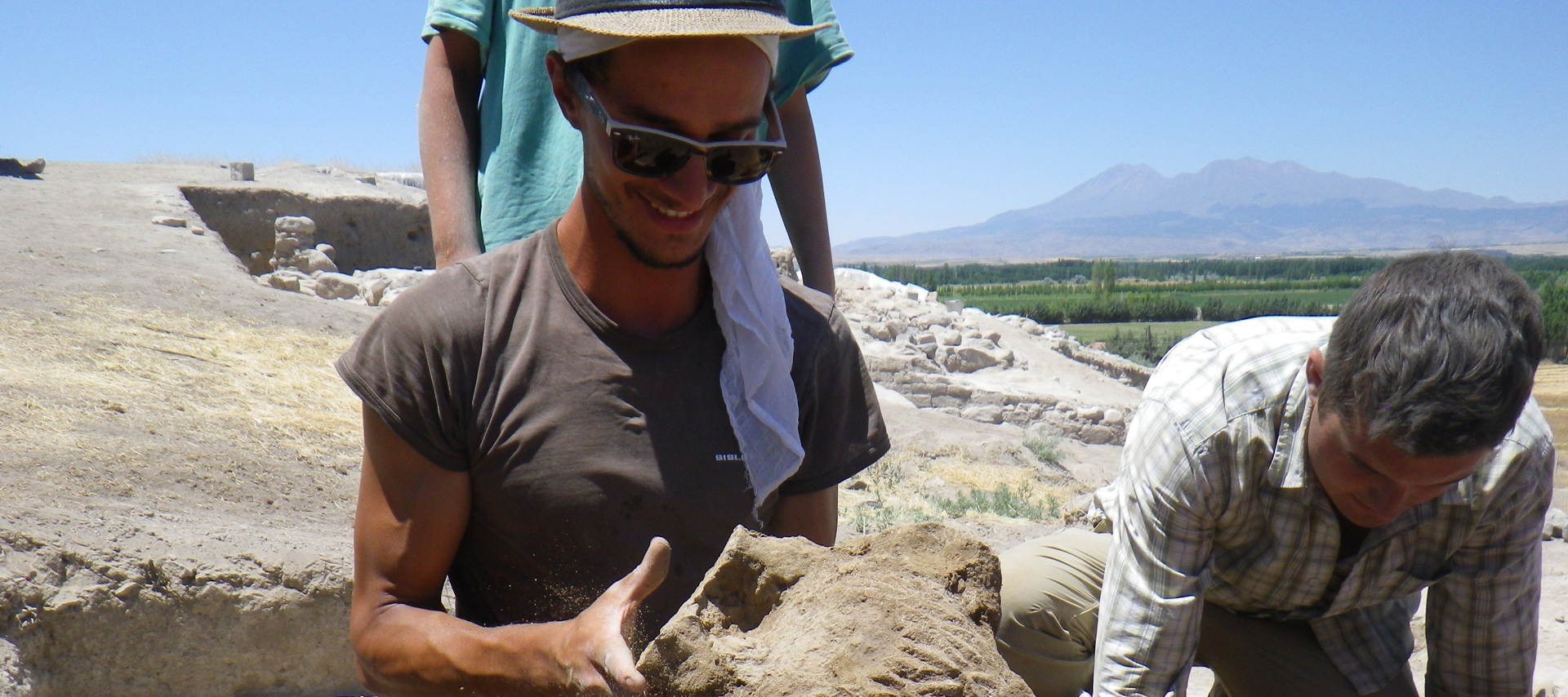 Andrea Trameri at the dig site