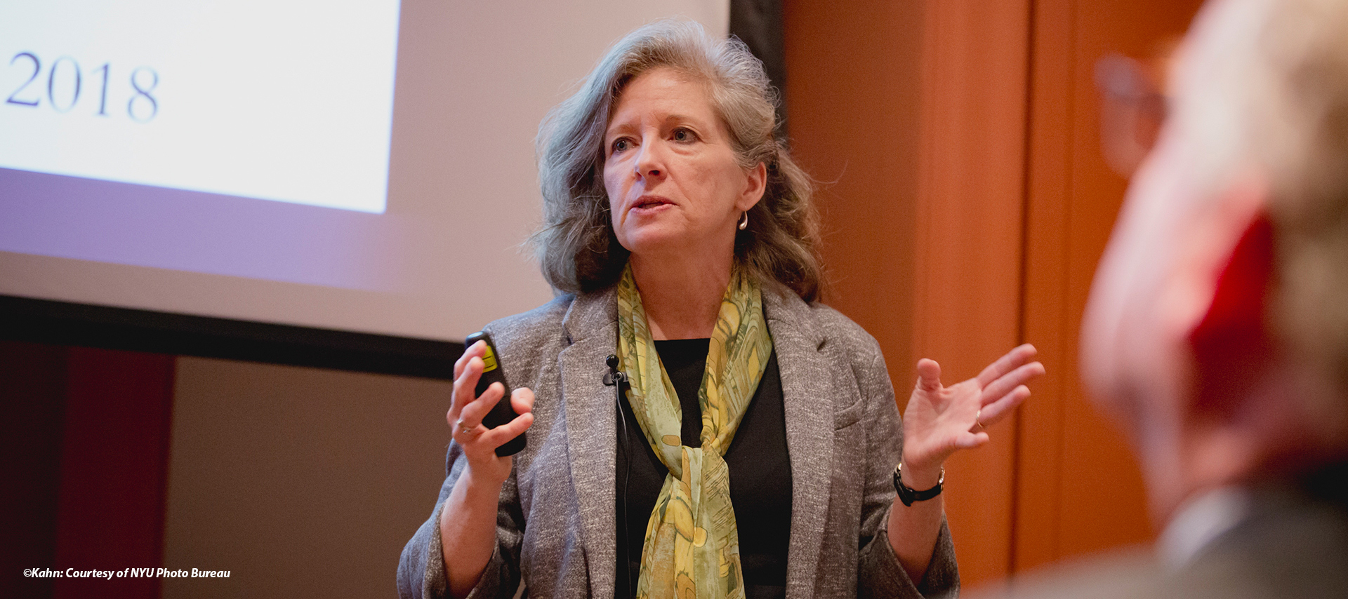 image of a visiting speaker at her lecture