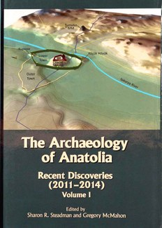 """Cover of the book """"Archaeology of Anatolia: recent discoveries (2011-2014),"""" showing a three-dimensional computer illustration of an archaeological site."""