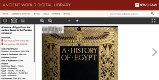 """This screenshot of the AWDL website shows one                        of the recently added titles, """"A History of                        Egypt"""""""