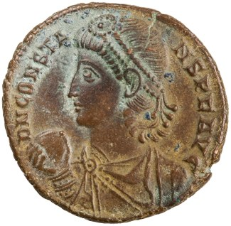 Obverse of bronze coin of Constantius II, Antioch, AD 348 - AD 350. ANS accession number 1944.100.22334