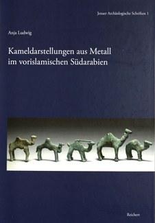 "Cover of the book ""Kameldarstellungen aus metall im vorislamischen sudarabien,"" showing five metal figurines of camels."