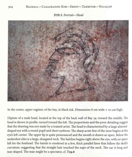"""Illustration from the book """"Graffiti from the Basilica in the Agora of Smyrna,"""" showing a drawing of a face."""