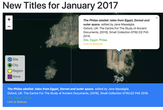A satellite-map view of the Temple of Philae in Egypt with a marker showing the geographic location associated with a book in the ISAW Library