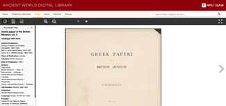 This screenshot of the AWDL site shows one of the recently added titles, Greek Papyri in the British Museum volume 3