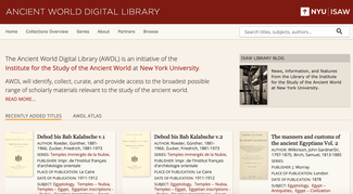 This image shows a screenshot of the AWDL home page which features recently added titles such as the Debod bis Bab Kalabsche volumes.
