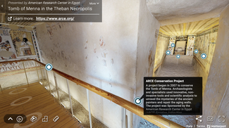 """This screenshot of the """"virtual tours"""" page on the American Research Center in Egypt website shows a hallway intersection in the tomb of Menna."""