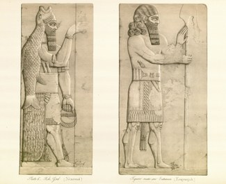 Fish God (Nimroud), Figure Near an Entrence (Kouyunjuk). From Austen Henry Layard. A Second Series of the Monuments of Nineveh. London: Murray, 1853, pl. 6.
